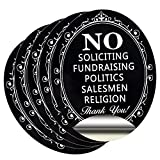 No Soliciting Sign Sticker for House Door, HISVISION 5 Pack Self-Adhesive 4.7' x 6' Premium Vinyl Signs for House Home and Business, Water and Fade ResistanceIndoor & Outdoor