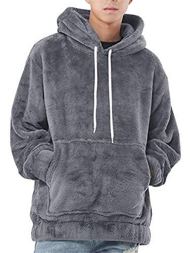 LASPERAL Herren Kapuzenpullover Pullover Plüsch Hoodie Sweatshirt Teddy-Fleece Mit Taschen