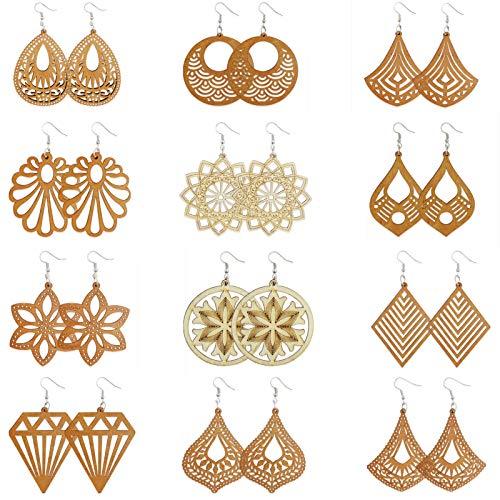 Uooker 12 Pairs African Wooden Drop Earrings Ethnic Style Wood Earrings Lightweight Bohemian Pendant Dangle Earrings for Women&Girls