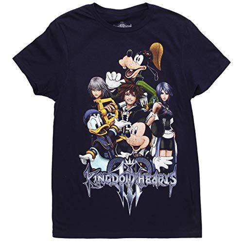 Disney Kingdom Hearts 3 Group Adult T-Shirt - Navy (Medium)