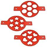 IWILCS Moule pancake, 3PCS Moules à omelette en silicone, Pancake Moules Silicone, Moules à Crêpes en Silicone, Silicone Omelette, avec 7 Trous, pour moule à oufs DIY ou oufs au plat/crêpes (rouge)