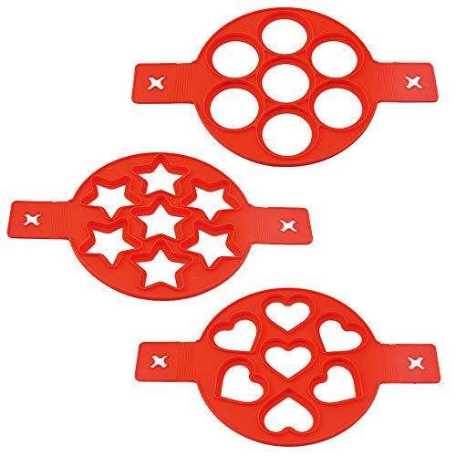 IWILCS Omelett Eierring, Antihaft-Silikonform, Nonstick Silikon Ei Ring Pfannkuchen Form, ilikon Pfannkuchenformen mit 7 Löchern, für Backform Ei/Spiegelei/Pfannkuchen(3PCS)
