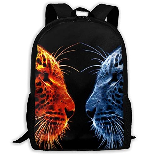 XCNGG Fire Leopard Vs Ice Leopard Printed Travel Backpack,Waterproof Lightweight Laptopbag Have Two Side Pockets