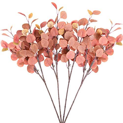 Tifuly 4 Trauben Künstliche Silberdollar-Eukalyptusblätter, 25,6 '' Seidengrün Laubpflanzen für Home Office Party Hochzeitsstrauß Dekor, DIY Blumenarrangements, Mittelstücke (Ahornrot Sprühen)