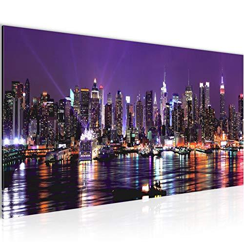 Bilder New York City Wandbild Vlies - Leinwand Bild XXL Format Wandbilder Wohnzimmer Wohnung Deko Kunstdrucke Violett 1 Teilig - MADE IN GERMANY - Fertig zum Aufhängen 601912b