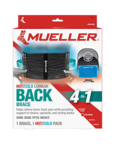MUELLER 4-in-1 Lumbar Back Brace with Removable Hot/Cold Pack,...