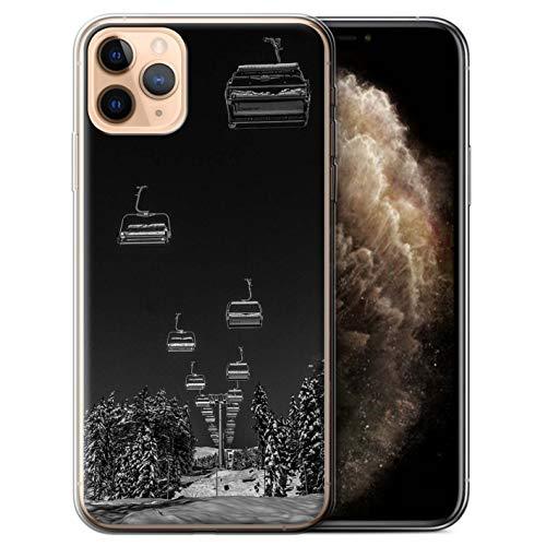 eSwish Gel TPU Hülle/Case für Apple iPhone 11 Pro Max/Ski Aufzug Muster/Skifahren/Snowboard Kollektion