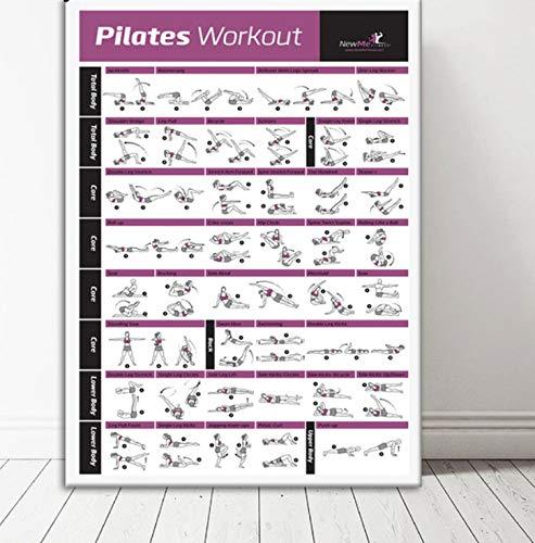 QINGRENJIE Bodybuilding Gym Sport Fitness Suspension Poster Pilates Workout Ejercicio Estiramiento Gráfico de Entrenamiento Art Poster Print Home Decor 50 * 70Cm Sin Marco