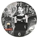 Happy Homewares Audrey Hepburn Wanduhr aus Glas, rund, 30,5 cm, benötigt 1 x AA-Batterie