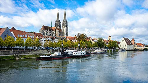 N\A Adult Jigsaws 1000 Piece Switzerland Rivers Riverboat Regensburg Dielsdorfpuzzle for Adults