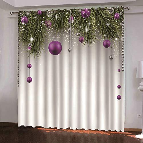 ANAZOZ 2 Paneles Cortinas Opacas Cortinas Poliester Exterior Bolas de Decoración Navideña Verde Púprura Cortinas para Dormitorio Tamaño 274x115CM