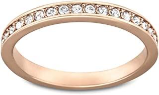 Swarovski Crystal Authentic Rare White Rose Gold Plated Ring, Size 8 - Chic Fancy Jewelry Collection For Women