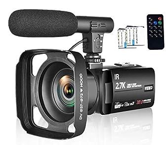 ビデオカメラ 夜間カメラ 外付けマイク FHD 2.7K 30FPS 30MP HDMI 16倍デジタルズーム 3インチタッチパネル ⽇本語メニュー+説明書 タイムラプス スローモーション デジタルビデオカメラ カムコーダー ブログカメラ