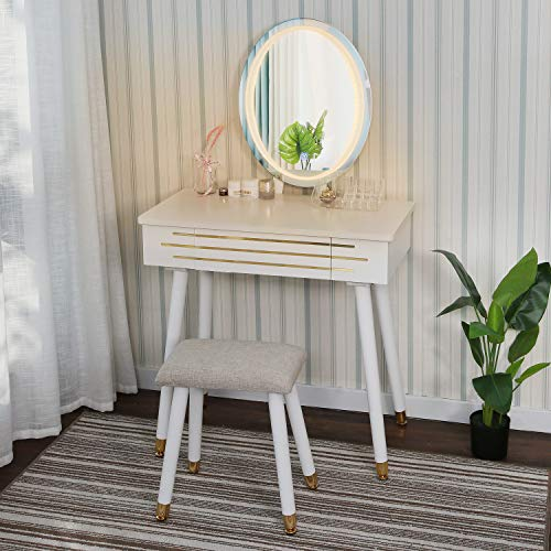 YOURLITE Dressing Table with LED Lights Mirror - White Vanity Makeup Table Set with Adjustable Brightness Mirror, Cushioned Stool and Free Make-up Organizer (White+Gold)