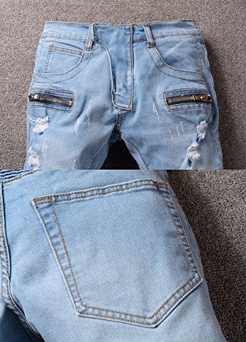 Men's Straight Fit Ripped Slim Zipper Biker Jeans Stretch Blue Wash Pants 36