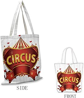 Tote Bag for Women, Ripstop Waterproof Circus Decor A Circus Sign Baroque Style Big Top Enjoyment Marquee Nightlife Retro, 16.5