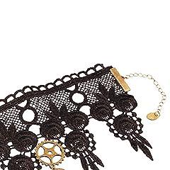 Daimay Choker Lace Necklace Punk Party Gothic Vintage Handmade Lolita Retro Gear Flower Bride Choker for Women – Black Y484 #5