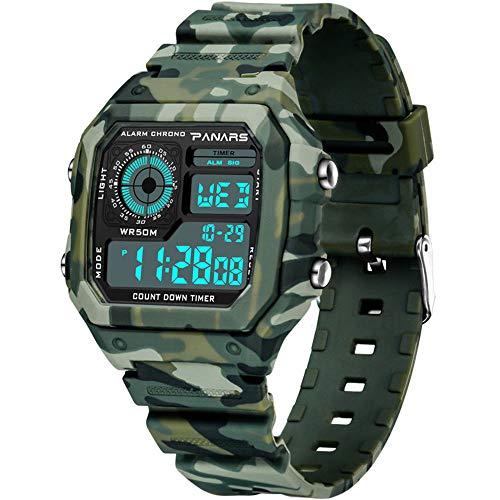 Digital Uhren , Funktionale Jungen Mädchen Wasserdicht Sportuhren Stoßfest Handgelenk Uhr für Digital Armbanduhr mit LED-Licht Wecker Stoppuhr, Datum Woche Kalender für Sport Outdoor, Camouflage green