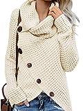 Yidarton Pullover Damen Warm Asymmetrische Strickpullover Rollkragenpullover Solid Wrap Gestrickt Langarmshirts Oberteile Causal Z-Weiß M