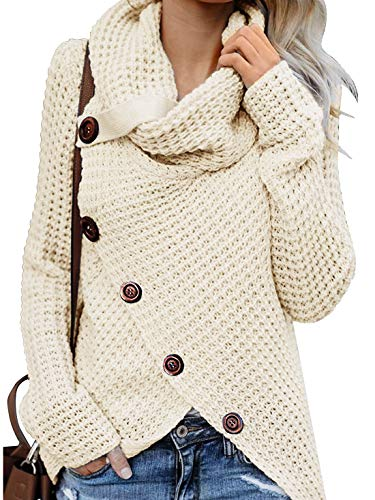Yidarton Pullover Damen Warm Asymmetrische Strickpullover Rollkragenpullover Solid Wrap Gestrickt Langarmshirts Oberteile Causal Z-Weiß XL