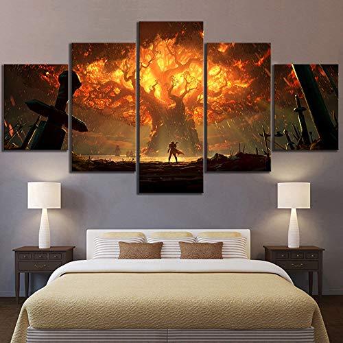 BOYH 5 stücke Wanddekoration Videospiel World of Warcraft Dota 2 Malerei Poster Dekorative Wandkunst Raumwanddekor,B,30×40×2+30×60×2+30×80×1