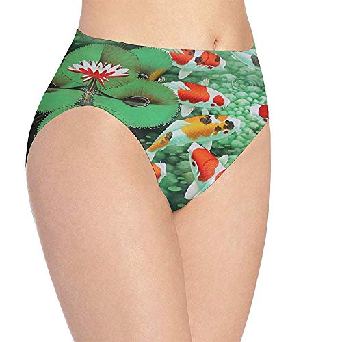 Ropa Interior para Mujer Ropa Interior Japonesa con Estampado de pez koi HD, Bragas de Calzoncillos Hipster Lindas para niñas, Talla L