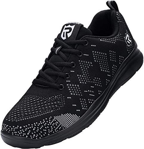 [LARNMERN] 安全靴 メンズ レディース 超軽量 滑り止め 通気性 クッション 作業靴 セフティシューズ メッシュ スニーカー つま先保護 ワークシューズ 防刺 衝撃吸収 耐久性(黒色、46)