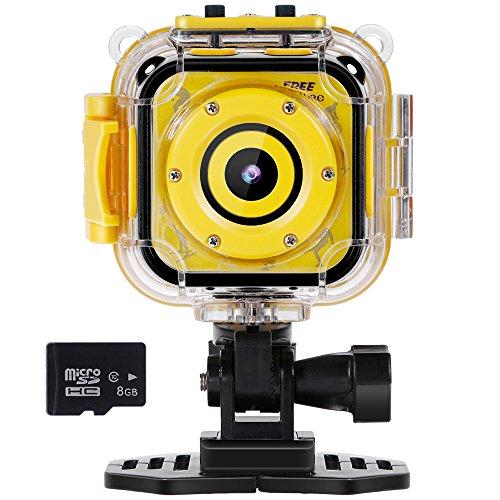 """Rovtop Niño Cámara Deportiva - Kid Cámara de Acción Impermeable1080p Pantalla LCD de 1.77"""" para Niños con Video Recorder Incluye Tarjeta de Memoria de 8GB (Amarillo)"""