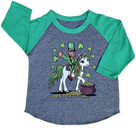 Leprechaun Girl Riding Unicorn Girls Fitted T-Shirt St Patricks Day