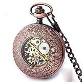 Tun Sie die Alten hohlen echten Retro Clamshell geschnitzt Qualität männlichen und weiblichen Studenten hängenden Kette mechanische Uhr halbautomatische mechanische Taschenuhr (Hellbraun)