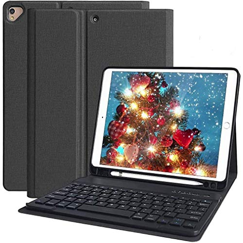 iPad 8th Generation 2020 Case with Keyboard 10.2 inch, iPad 7th Gen 2019/iPad Air 3/iPad Pro 10.5 Keyboard Case, Detachable Wireless Bluetooth Keyboard with Pencil Holder(Black)