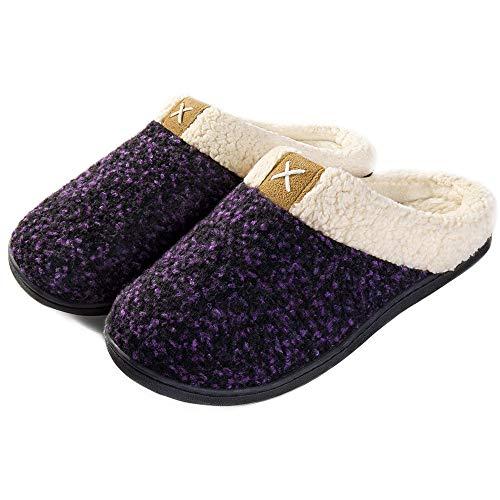 ULTRAIDEAS Women's Cozy Memory Foam Slippers Fuzzy Wool-Like Plush Fleece Lined House Shoes w/Indoor, Outdoor Anti-Skid Rubber Sole (9-10, Purple)