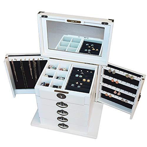 FGDFGDFEEGVD Gran joyero Multicapa Puertas de joyero de Madera Maciza en Ambos Lados con Espejo de Maquillaje Organizador de Soporte de joyería de Gran Capacidad con Cerradura