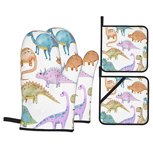 AndrewTop Oven Mitts and Potholders 4pcs Sets,Watercolor Set Different Types Dinosaurs Bright,Heat Resistant Oven Gloves Non-Slip Oven Mitt for Kitchen Cooking Baking BBQ