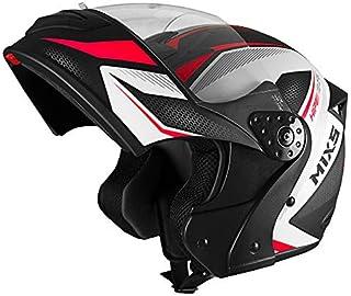 Capacete Mixs Gladiator Neo Brilhante Escamoteavel Articulado Robocop preto com vermelho 60