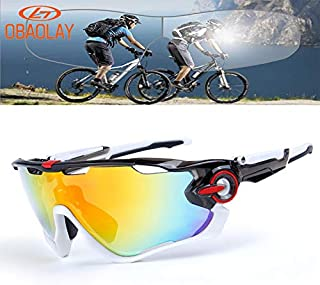 OBAOLAY Polarized Sports Sunglasses Unisex Cycling Sun Glasses with 3 Interchangeable Lens UV400 Protection Anti Glare Mirrored Coating Eyewear for Running Baseball Golf Fishing Driving Climbing