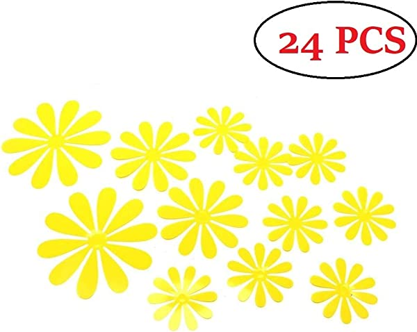 Amaonm 24 PCS Cute 3D DIY Flowers Wall Decals Removale Home Art Decor Flowers Wall Stickers Murals For Kids Girls Room Bedroom Weeding Party Birthday Shop Windows Decorations Yellow