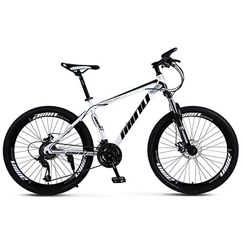 Areyourshop Mountain Bike 21 Speed with High Carbon Steel Frame, 26 inch Wheels, Double Disc Brake, Frame Bicycle Disc Bicycles,Black&White