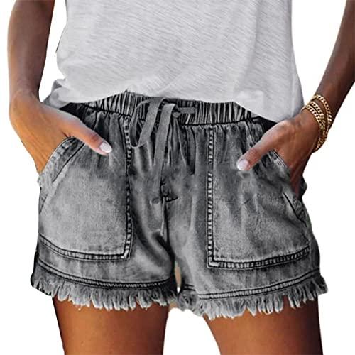 ShFhhwrl Pantaloncini per Donnas Pantaloncini di Jeans da Donna con Coulisse in Vita Elastica Estiva Pantaloncini di Jeans da Donna Estivi 2XL Blu