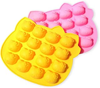 [Two Packed / Random Color]16 Cavity Hello Kitty Cat Silicone Mold Pan for Cake, Biscuit, Ice Cube, Chocolate, Candy, Soap, Candle, Jello, Crayon, Clay Making - Party Favors and Best Gift for Kids