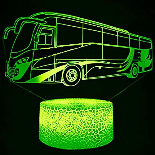 3D Bus Train Car Night Light USB Touch Switch Decoración Mesa Escritorio Lámparas de Ilusión Óptica 7 Color Cambio de Luces LED Lámpara de Mesa Navidad Hogar Amor Niños Decoración Regalo de Juguete