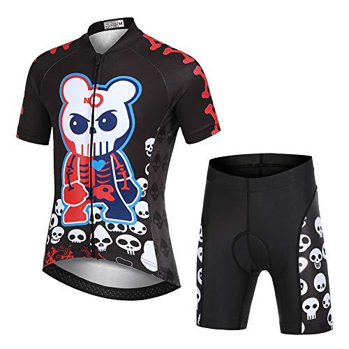 LSHDCER - Completo da ciclismo per bambini, motivo cartoni animati, per bambini (maglia a maniche corte e pantaloncini imbottiti), con teschio, 11-12 anni