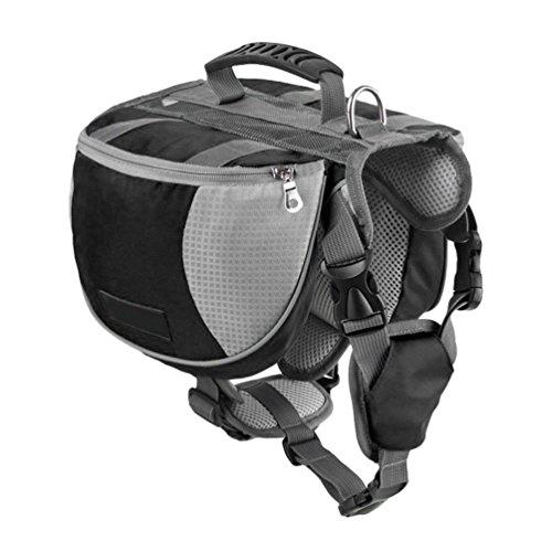 Yiiquanan Hund Rucksack Verstellbar Pack Mittelgroße & Large Hunderucksack für Wandern Camping Reise (Schwarz, Asia L)