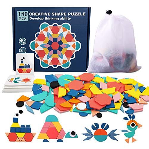 Pattern Blocks, 180 Pcs Wooden Pattern Blocks Set for Kids Geometric Shape Puzzle Kindergarten Classic Educational Montessori Tangram Toys for Toddlers Gifts, 24 Pcs Design Cards