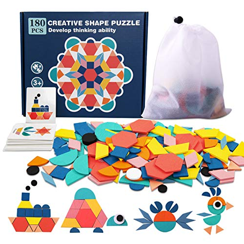 180 Pcs Wooden Pattern Blocks Set Geometric Manipulative Shape Puzzle Kindergarten Classic Educational Montessori Tangram Toys Kids Ages 4-8 Jigsaw Puzzles Gift, 24 Pcs Design Cards