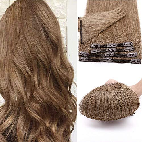 12 Pouces Extensions A clip Cheveux Naturel 8 PCS [Double Weft] Rajout Cheveux Clip Naturel 100% Clip In Hair Extension Human Hair,#6 Châtain Clair