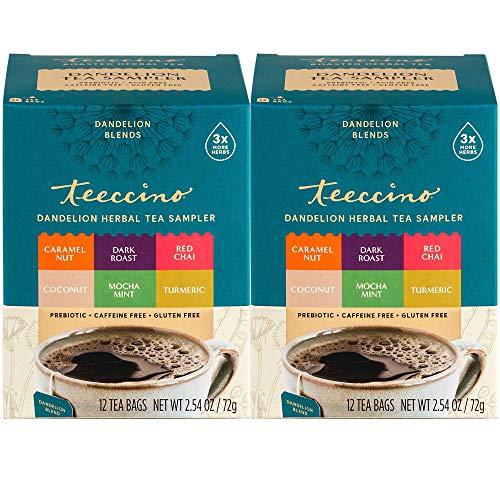 Teeccino Dandelion Tea Sampler - Caramel, Coconut, Dark Roast, Mocha Mint, Red Chai, Turmeric - Prebiotic Coffee Substitute | Caffeine Free | Gluten Free | Coffee Alternative, 12 Tea Bags (Pack of 2)