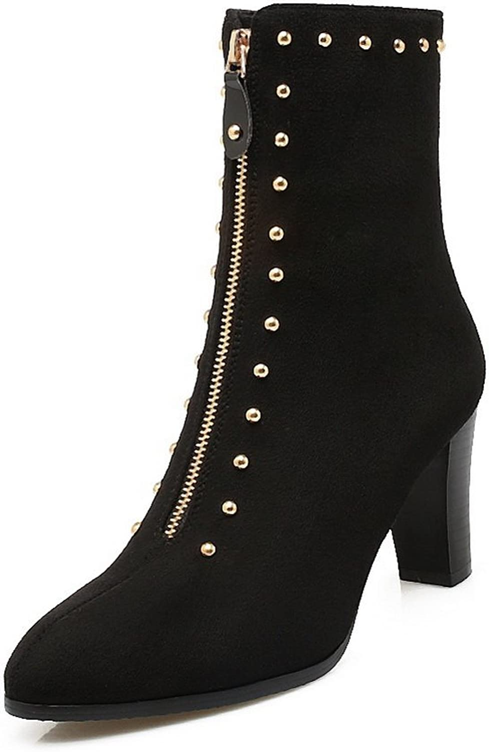BalaMasa Womens Studded High-Heel Zipper Pointed-Toe Closed-Toe Black Urethane Boots ABL09805 - 8 B(M) US