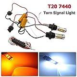 Maso 2 unids T20 50 W coche luces de señal de giro LED 7440 2835 DRL luz diurna doble color Switchback LED Kit