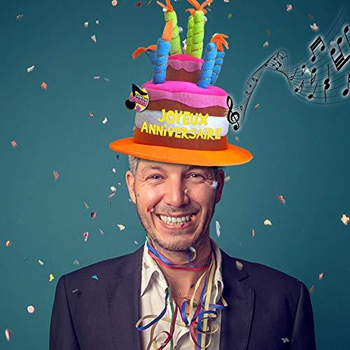 Chapeau musical Joyeux Anniversaire - Taille Unique